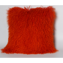 Mongolian Lamb Skin Cushion in Red Color
