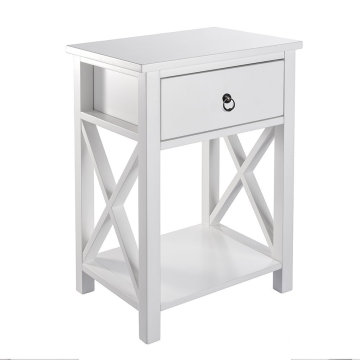 China OEM for Bedroom Nightstands X-Design Side End Table Night Stand Storage Shelf with Bin Drawer export to Montserrat Wholesale