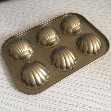 Golden 6-cup Madeleine Shell Cake Pan Molds