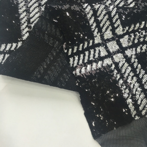 Black And White Sequin Geometry Embroider Fabric
