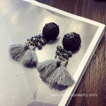 Beaded Bridal Tassel Earrings Seed Beads Earstuds Earrings