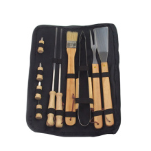 Best Price for BBQ Nylon Bag Set 10pcs bbq tools accessories with wooden handle export to Indonesia Manufacturer