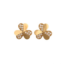 China Professional Supplier for High Polished Gold Earring Lucky clover 18K Earrings export to France Suppliers