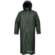 Waterproof PU Long Rain Jacket For Men