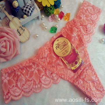 OEM wholesale China hot sale sexy thong comfortable orange lace non-trace t-back elastic fancy underwear 002