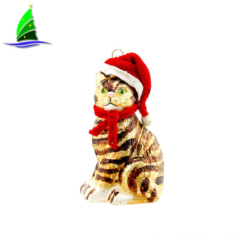 Christmas cat shape glass Christmas tree ornament