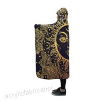 Blanket Indoor Pilling  Fleece Hooded Paisley Sun