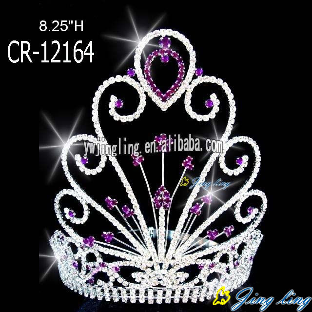 "8"" Purple Rhinestone Glitz Pageant Crown"