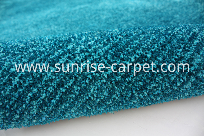 Microfiber with viscose short pile carpet blue color