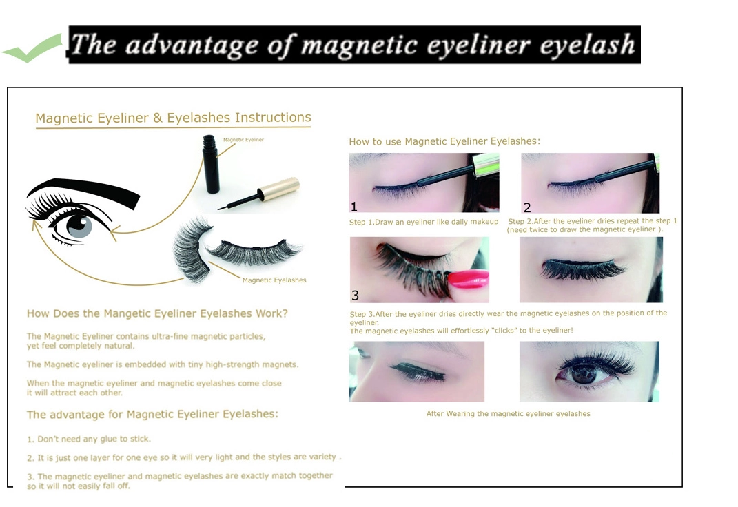 Fiber false eyelashes magnetic eyeliner eye lashes set