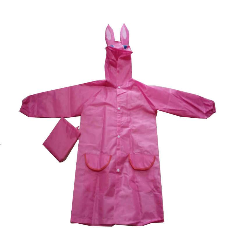 Pink Polyester Kids Raincoat