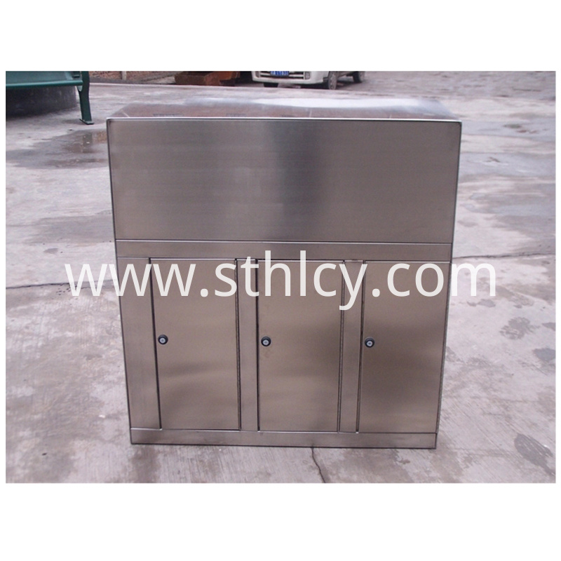 Three Barrel Stainless Steel Garbage Container