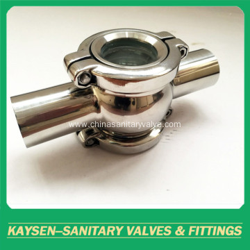 Sanitary sight glass four part welding end cross
