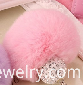 Rabbit Fur Ball Keychain