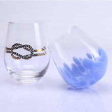 Hand blown Stemless Tumbler Wine Glass Set
