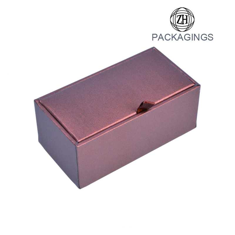 Brown rectanguar cardboard cufflink packaging box