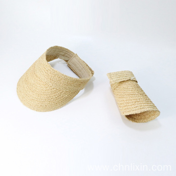 Raffia straw summer face shield visor cap