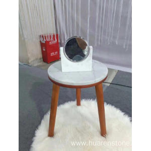 Trending Products for Natural Stone Side Table White marble  round medium table supply to Spain Factories