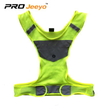 fluorescent green fabric led reflective running vest