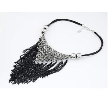 Rhinestone Triangle Necklace Statement Tassel Chain Necklace