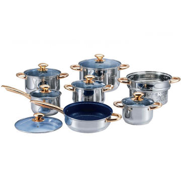 Stainless Steel Cookware Set with Gold-plated Handles