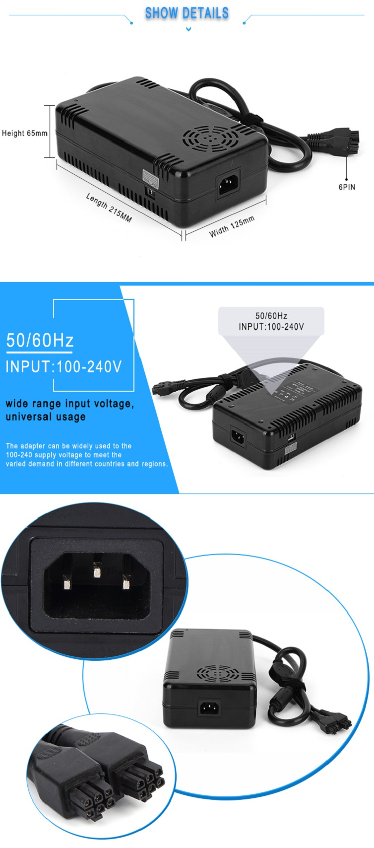 AC to DC 25V 20A 500W power supply