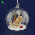 clear hanging glass ball Christmas bird decoration