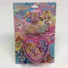 plastic heart-shaped cartoon portable stamp set