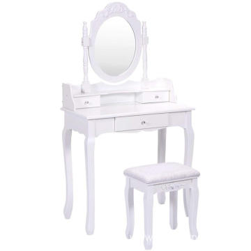 Bathroom Vanity Wood Makeup Dressing Table Stool Set with Mirror (Round Mirror, 3 Drawers)