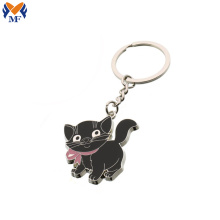 High quality metal black cat animal keychain