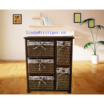 countryside style small solid wood storage cabinet with wicker drawer