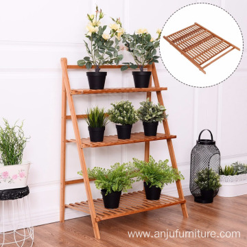 Flower display shelf 3 layer solid wood foldable garden rack