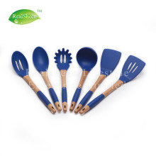 6 Pieces Nonstick Silicone Utensils With Wooden Handle