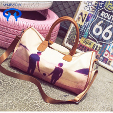 Character printed pu one-shoulder portable travel bag