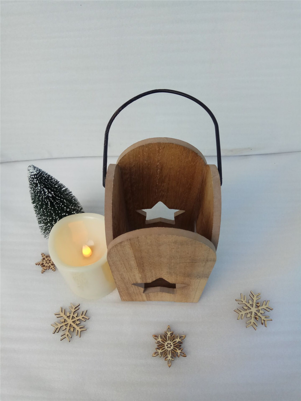 new wooden candle holder