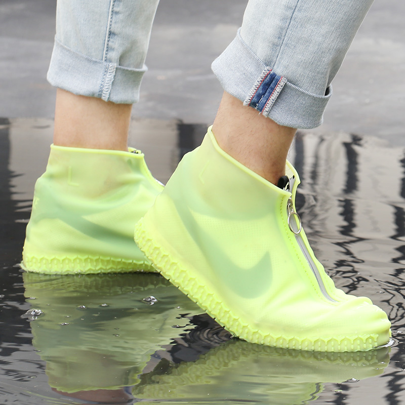 Silicone Zipper Shoe Covers Rain Boot Reusable Waterproof Case Portable Non-slip