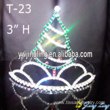 Customized for Christmas Party Hats Crystal Rhinestones Christmas Tree Pageant Crowns export to Armenia Factory