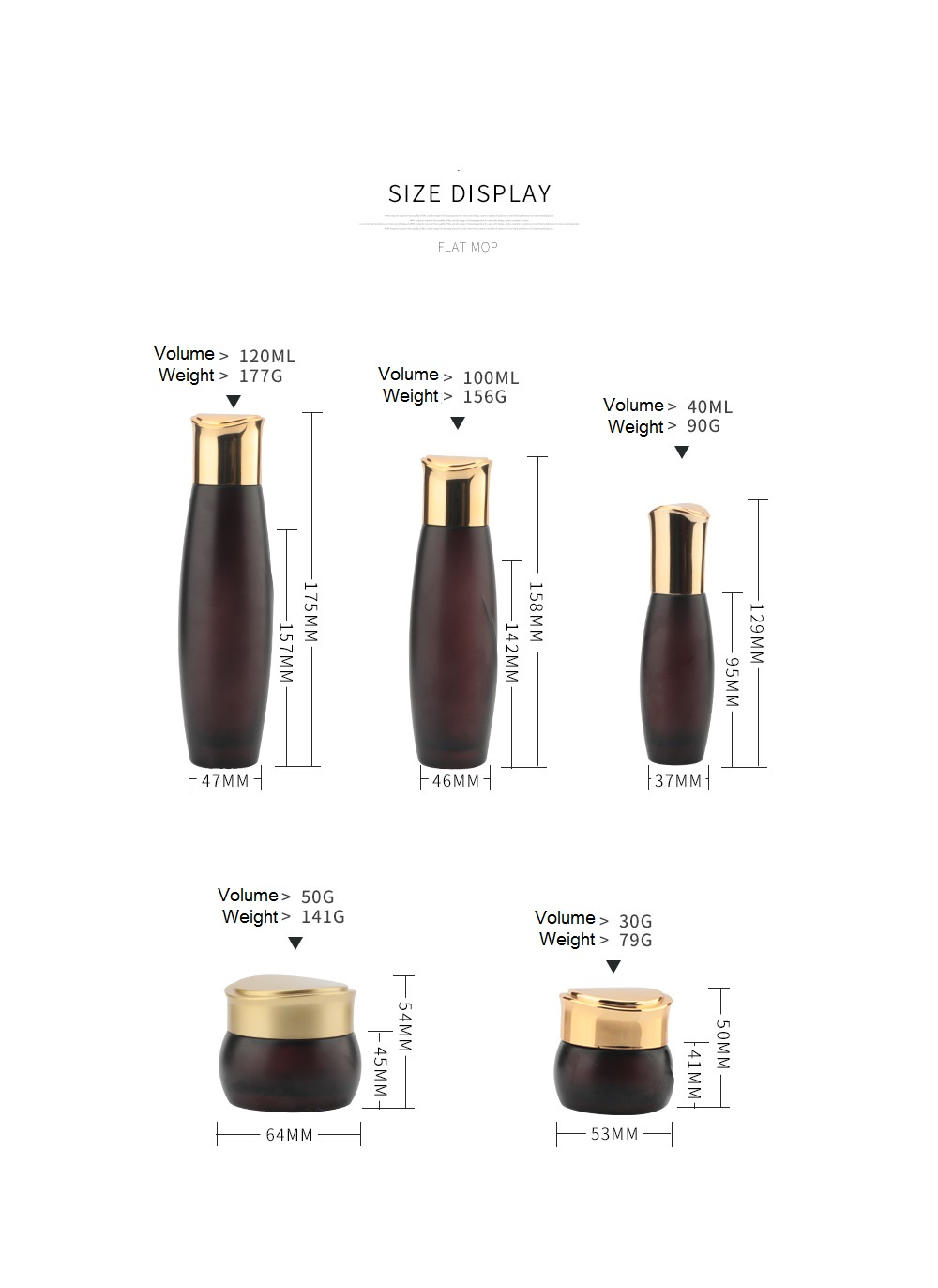 Brown Cosmetic glass bottle with golden caps