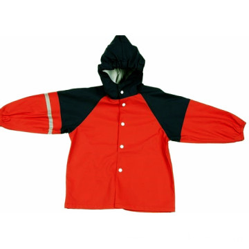 10 Years for Police Raincoat PU Rain Jacket With Hood For Kids supply to France Manufacturers