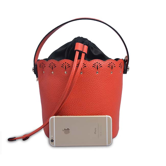 genuine leather drawstring bucket bag designer leather bags