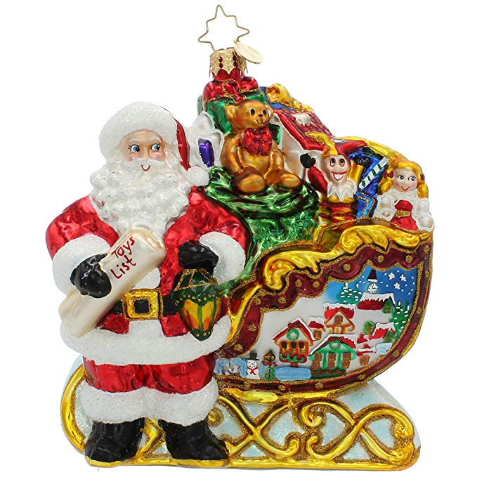 Front Santa Claus Glass Ornament