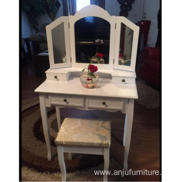 Vanity makeup dressing table with 3 mirrors