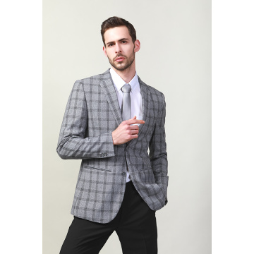 MEN'S WOVEN CHECK FASHION BLAZER