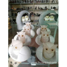 OEM China for Stone Garden Owls Pink onyx owl sculpture export to India Manufacturer