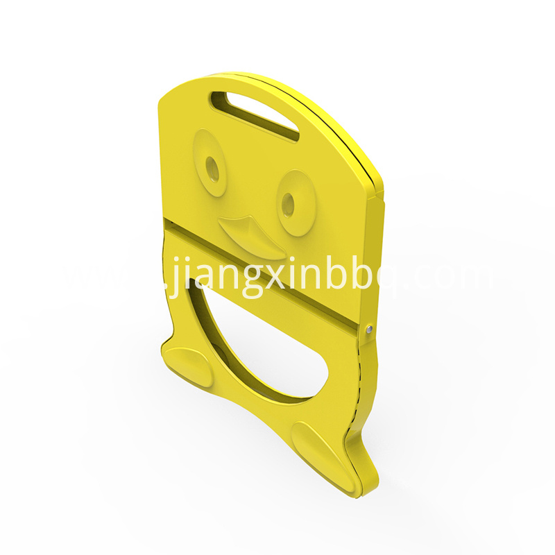 X Shape Yellow Folding Charcoal Grill Side View