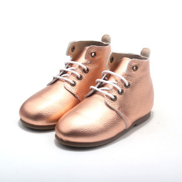 Leather Kids Shoes Children's Boots with Hard Sole