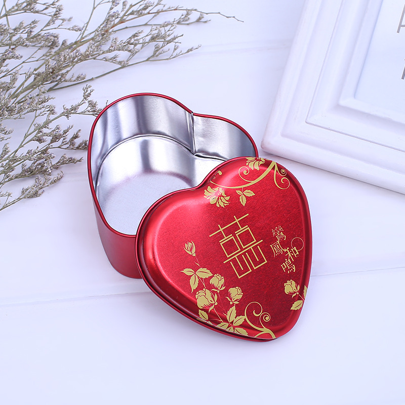 Traditional Wedding Favor Heart Candy Tin Can