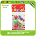 Blister Card package 3d fancy fruit eraser