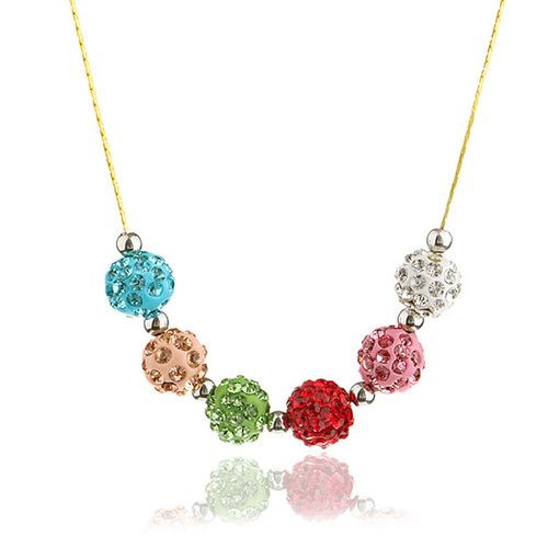 Multi Color Clay Shamballa Choker Beads Chain Necklace