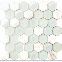 glass and marble hexagon mosaic tile